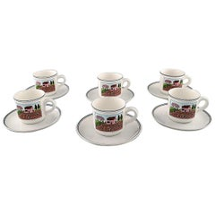 Villeroy & Boch Naif Coffee Service in Porcelain. a Set of 6 Large Cups&Saucers