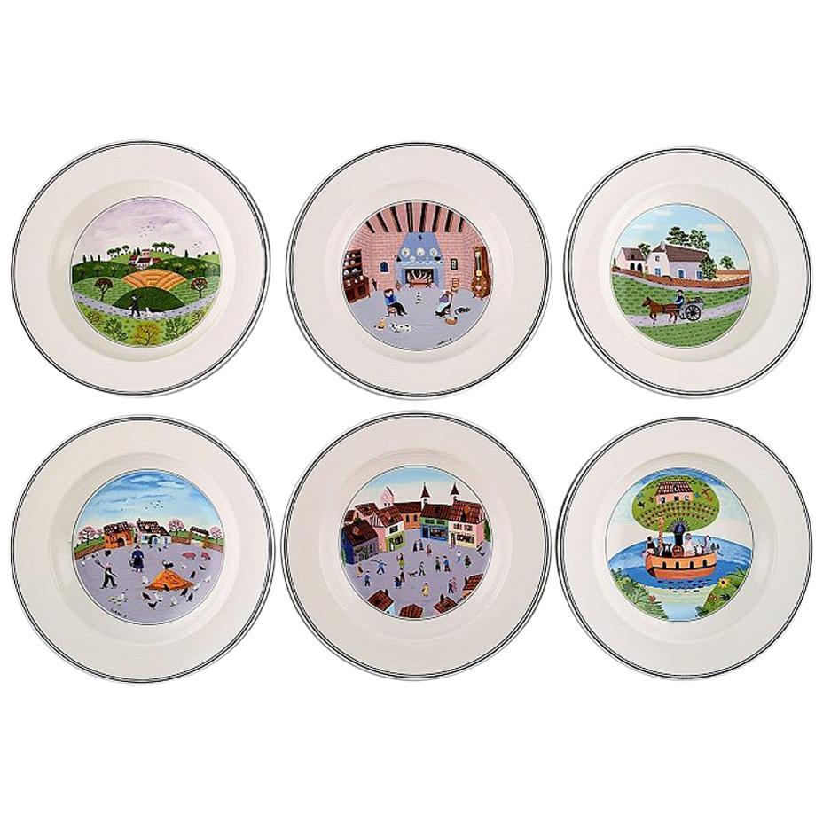 Villeroy & Boch Naif Dinner Service in Porcelain, a Set of 6 Deep Plates
