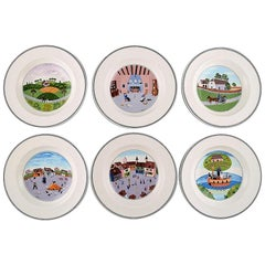 Villeroy & Boch Naif Dinner Service in Porcelain, a Set of 6 Deep Plates