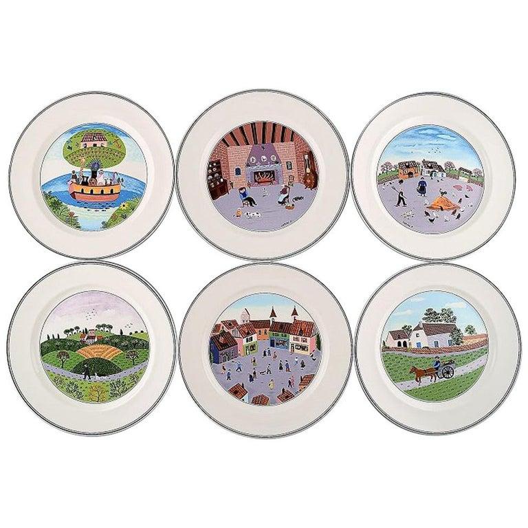 Villeroy & Boch Naif Dinner Service in Porcelain, a Set of 6 Dinner Plates For Sale