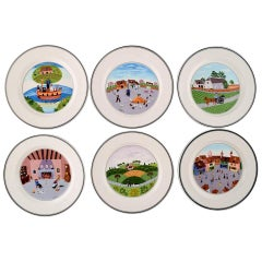 Villeroy & Boch Naif Dinner Service in Porcelain, a Set of 6 Lunch Plates