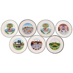 Villeroy & Boch Naif Dinner Service in Porcelain, a Set of Seven Lunch Plates