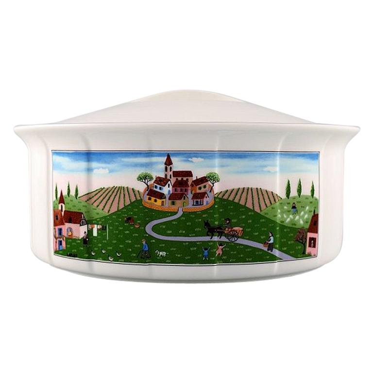 Villeroy & Boch Naif Dinner Service in Porcelain, Oval Lidded Tureen For Sale