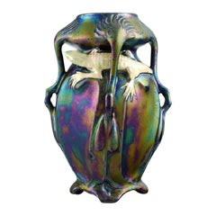 Vilmos Zsolnay for Zsolnay, Rare Art Nouveau Vase on Feet in Eozin Glaze