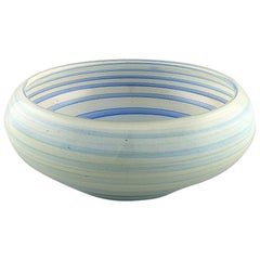 Vilniaus Stiklo Studija, Large Bowl in Light Blue Art Glass, 1980s