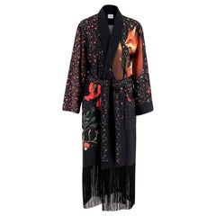 Vilshenko Black Fringed Embellished Printed Shell Coat