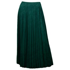 Vilshenko Green Beatrix Pleated Crepe-Jacquard Midi Skirt sz 0