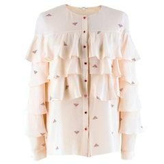 Vilshenko Pale Pink Printed Ruffle Blouse UK 8