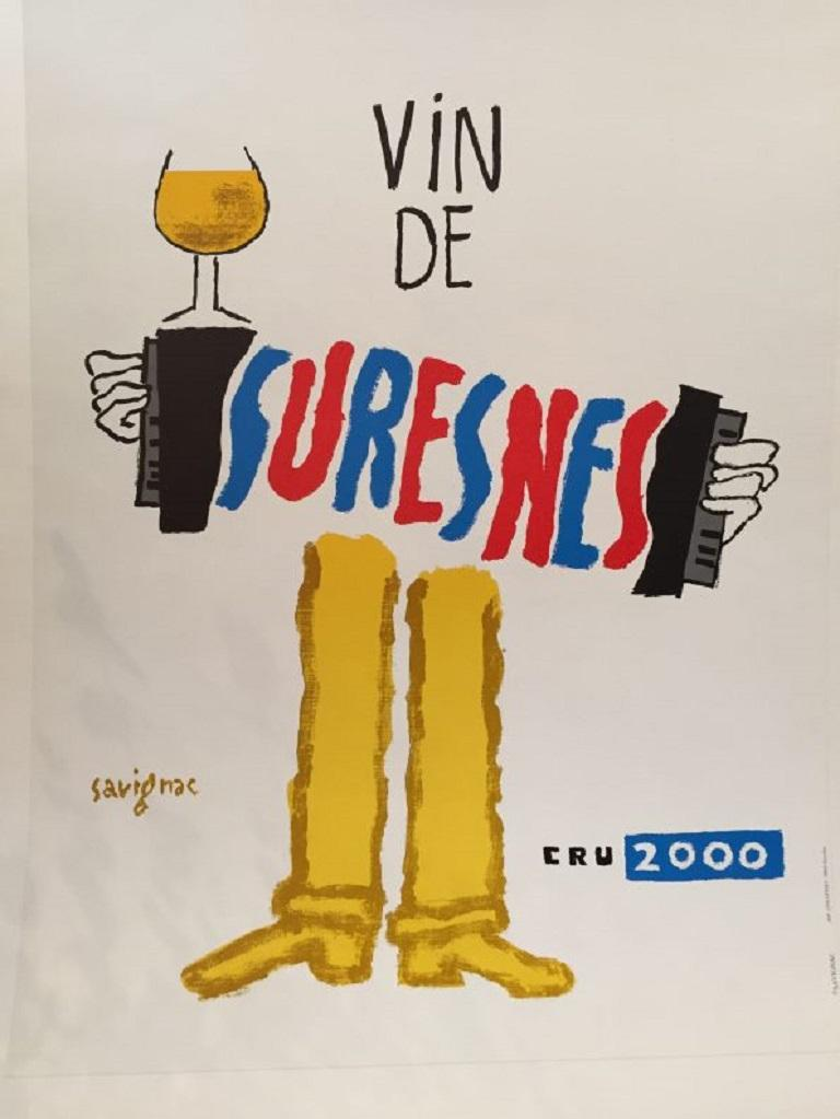 Great poster by Savignac, advertising wine, 'Vin de Suresnes', . This is a unique poster in excellent condition.
