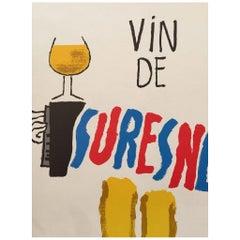 """""""Vin De Suresnes"""", Savignac Original Vintage Poster"""