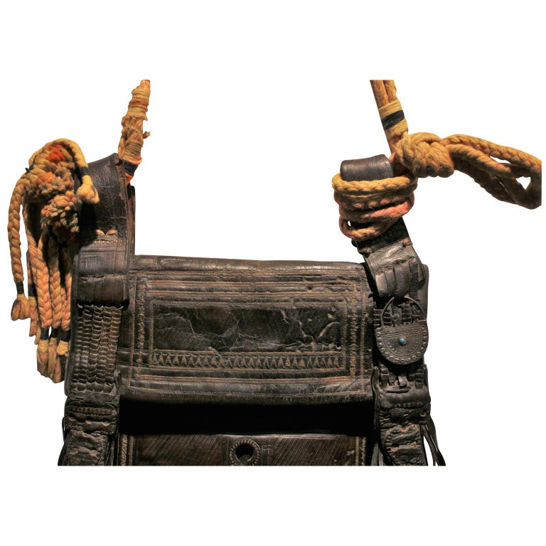 20th Century Vinage Colorful Moroccan Leather Saddle Bag  For Sale