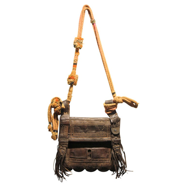 Vinage Colorful Moroccan Leather Saddle Bag  For Sale