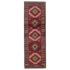 Vintage Oriental Rug Runner Red Traditional Caucasian Handmade Carpet Runners