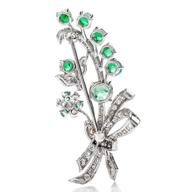 Art Deco Vinatge Deco Emerald Diamond Platinum Flower Bouquet Pin For Sale