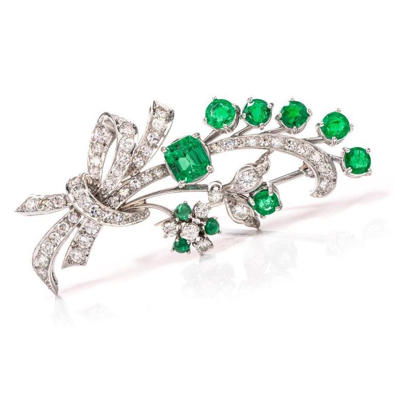 Emerald Cut Vinatge Deco Emerald Diamond Platinum Flower Bouquet Pin For Sale