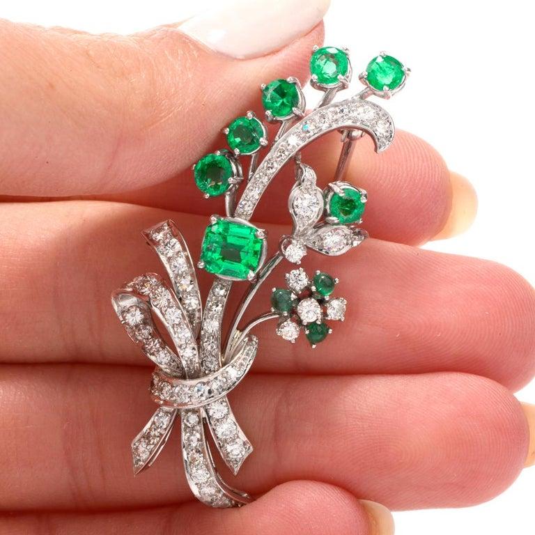 Vinatge Deco Emerald Diamond Platinum Flower Bouquet Pin In Excellent Condition For Sale In Miami, FL