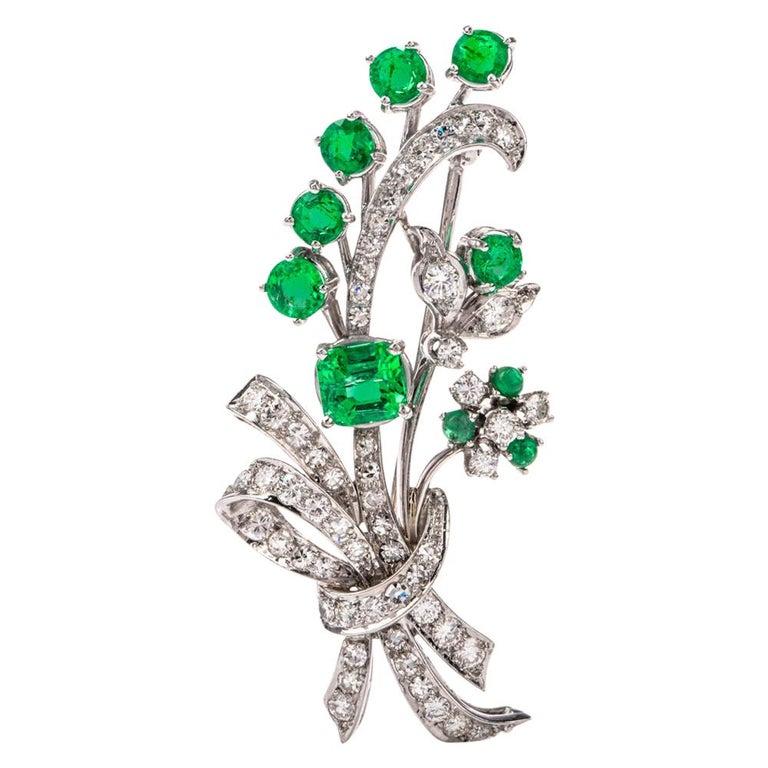 Vinatge Deco Emerald Diamond Platinum Flower Bouquet Pin For Sale