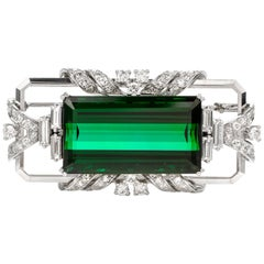 Art Deco Style Green Tourmaline Diamond 18 Karat White Gold Pin Brooch