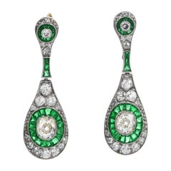 Vinatge Old Cushion Diamond Emerald Dangle Drop Earrings
