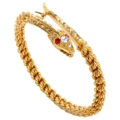 Vintage Snake Diamond Ruby 18 Karat Yellow Twisted Bangle Bracelet