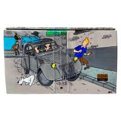 VINC, Rare Trunk of a Citroën 2CV, Tintin, 2000, Acrylic