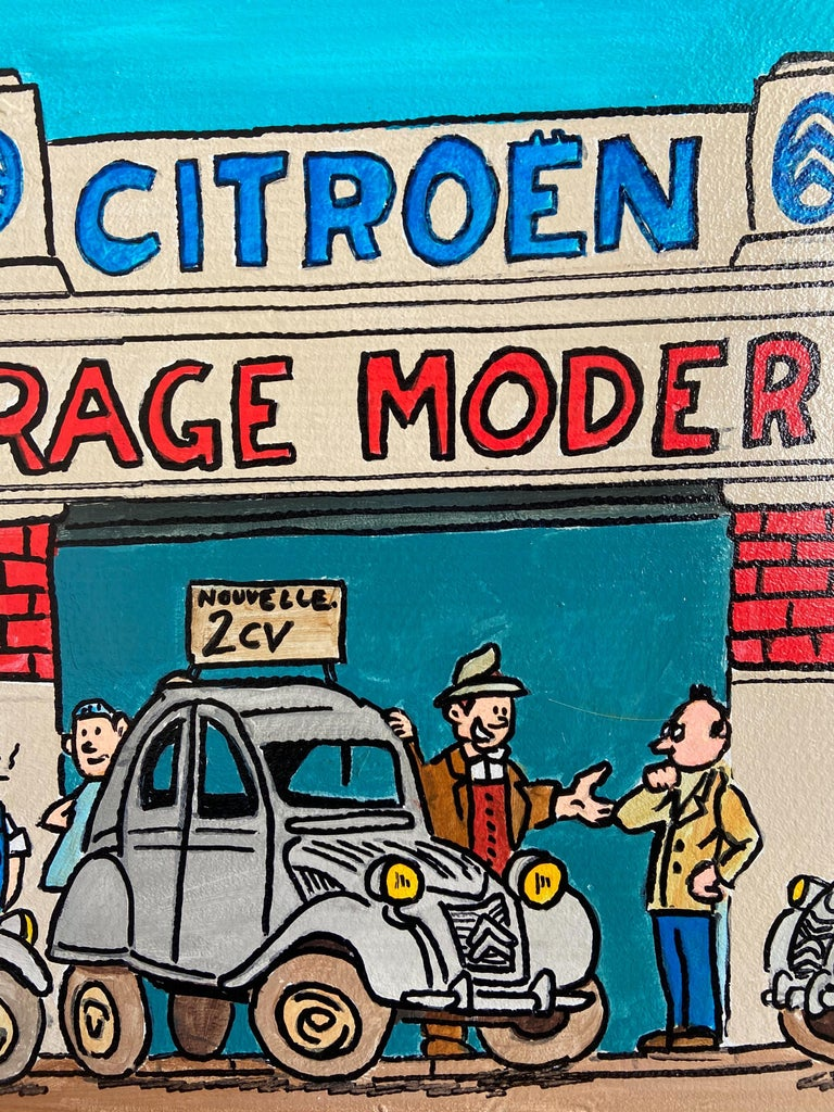 Artist VINC Road sign - Garage Citroën, 2000 Acrylic on metal Signed by the artist Unique and original artwork Measures: 123 x 42.5 x 5 cm.