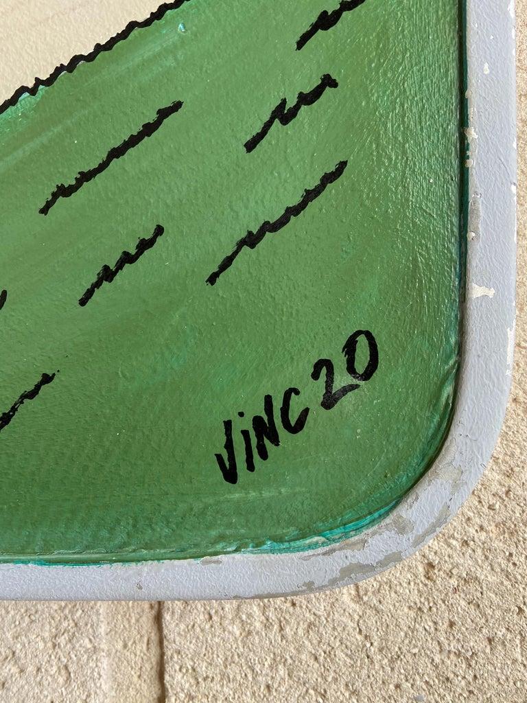 Modern VINC, Road Sign, Spirou, 2000, Acrylic For Sale