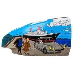 VINC, Wing of Citroën 2CV, Tintin and France, 2020, Acrylic