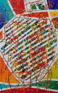 """""""Look Left"""" 48x30"""" Acrylic and spray paint on canvas,"""