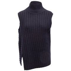 Vince Navy Sleeveless Wool & Cashmere Turtleneck Top
