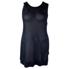 VINCE Size L Navy Crochet Cotton Sleeveless Tunic Dress