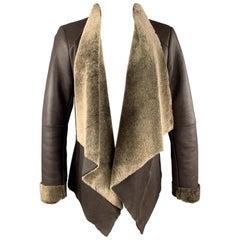 VINCE Size M Brown Shearling Draped Collar Lapel Jacket