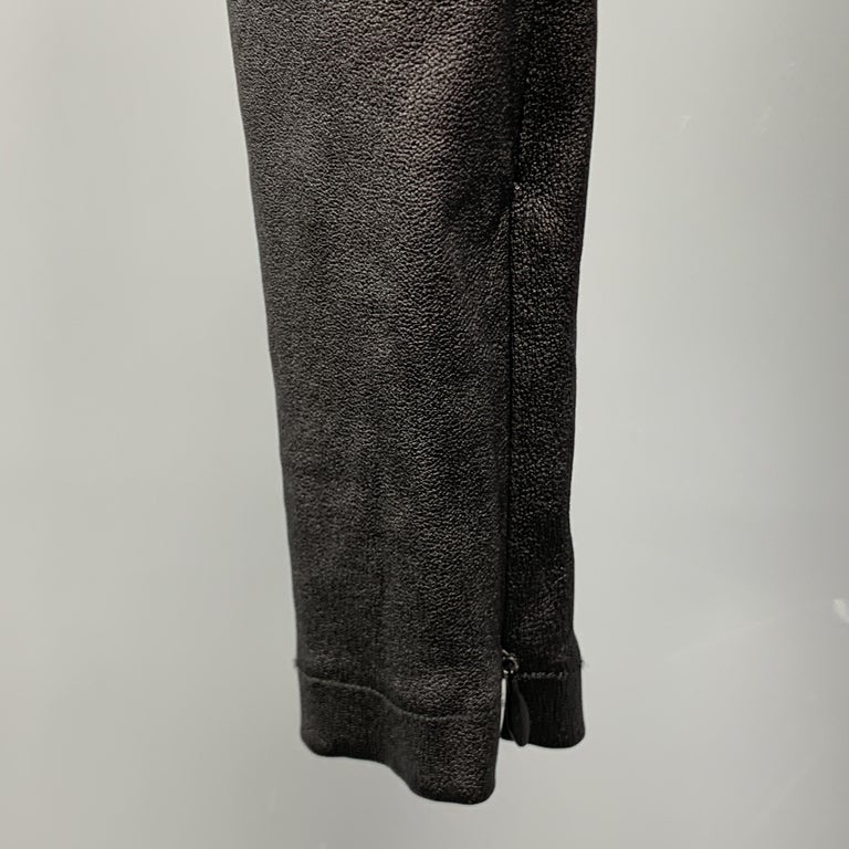 VINCE Size S Black Leather Textured Cuff Zipper Pull On Leggings In Good Condition For Sale In San Francisco, CA