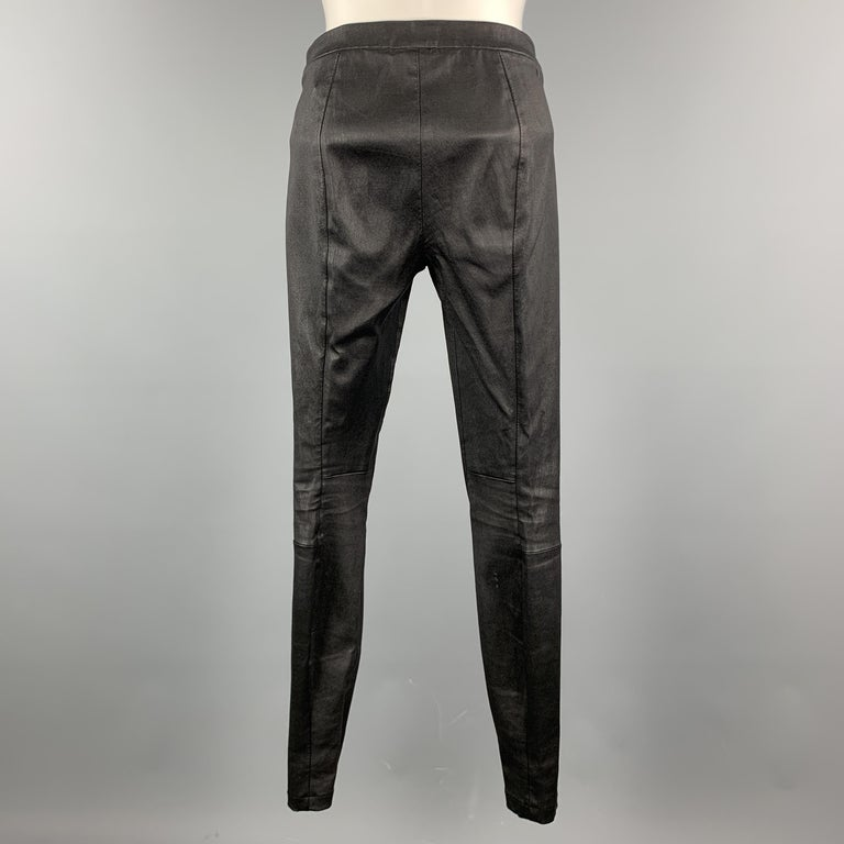 Women's VINCE Size S Black Leather Textured Cuff Zipper Pull On Leggings For Sale