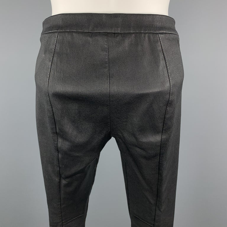 VINCE Size S Black Leather Textured Cuff Zipper Pull On Leggings For Sale 1