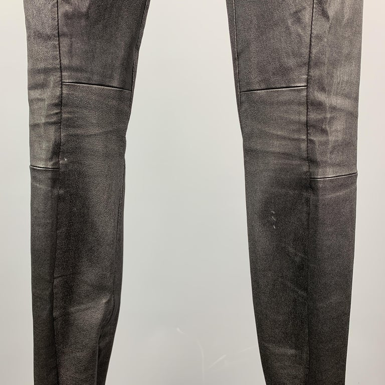 VINCE Size S Black Leather Textured Cuff Zipper Pull On Leggings For Sale 2