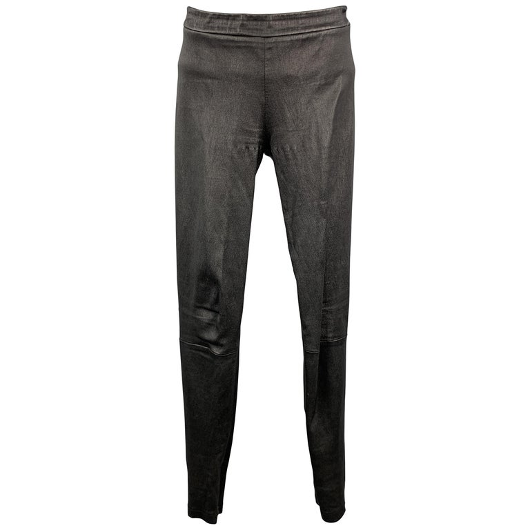 VINCE Size S Black Leather Textured Cuff Zipper Pull On Leggings For Sale