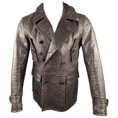 VINCE Size S Brown Leather Double Breasted Distressed Jacket