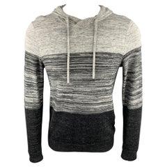 VINCE Size S Grey Color Block Cotton Blend Hoodie Pullover