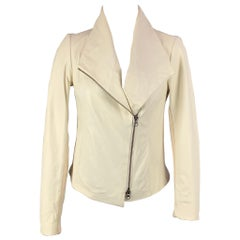 VINCE Size XS Cream Cotton Leather Motorcycle Jacket