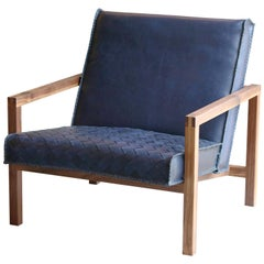 Vincent Braided Navy Blue Leather Lounge Chair With Walnut Frame