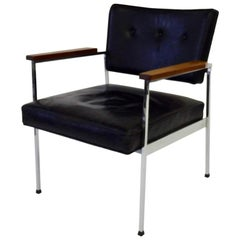 Vincent Cafiero for Knoll black leather on chrome frame chair