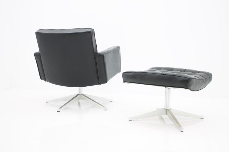 Vincent Cafiero Leather Lounge Chair with Stool, Knoll International, 1960s For Sale 4