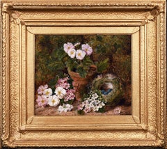 Still life of Bird's Nest and Flowers on a Mossy Bank