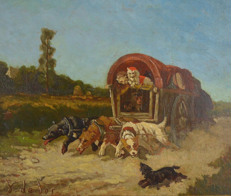 Vincent De Vos (1829-1875). Painting - carriage with a team of dogs, 19th century.