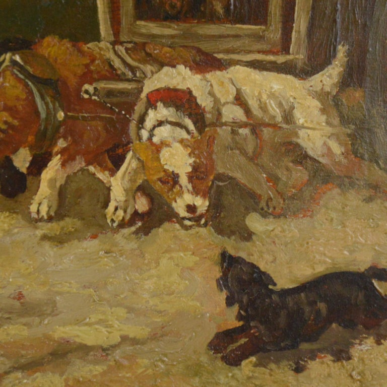 Vincent De Vos Painting Carriage with a Team of Dogs 19th Century Canvas In Good Condition For Sale In Brussels, BE