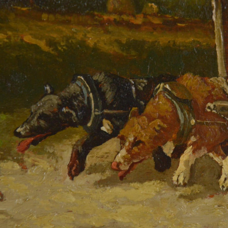 Vincent De Vos Painting Carriage with a Team of Dogs 19th Century Canvas For Sale 1