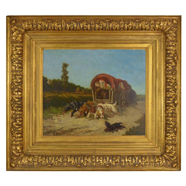 Vincent De Vos Painting Carriage with a Team of Dogs 19th Century Canvas For Sale