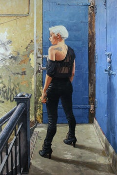 DUMBO LOFT, photo-realism, women in hallway, nyc apartment, blue