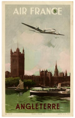 Original Vintage Poster Air France Angleterre England London Travel Art Affiche